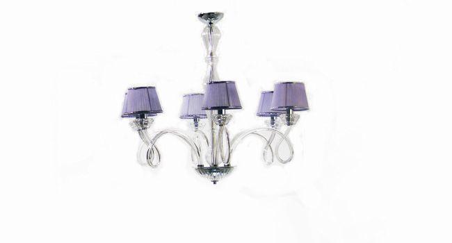 JEWELS / 6 LUCI  Lampadario 6 luci in vetro soffiato, finiture in cristallo, paralumi in organza glicine, disponibile a 3-6-8-12 luci     SCHEDA TECNICA  Dimensioni: d.85 h.75  Portalampade: 6 x E14 max 40 W