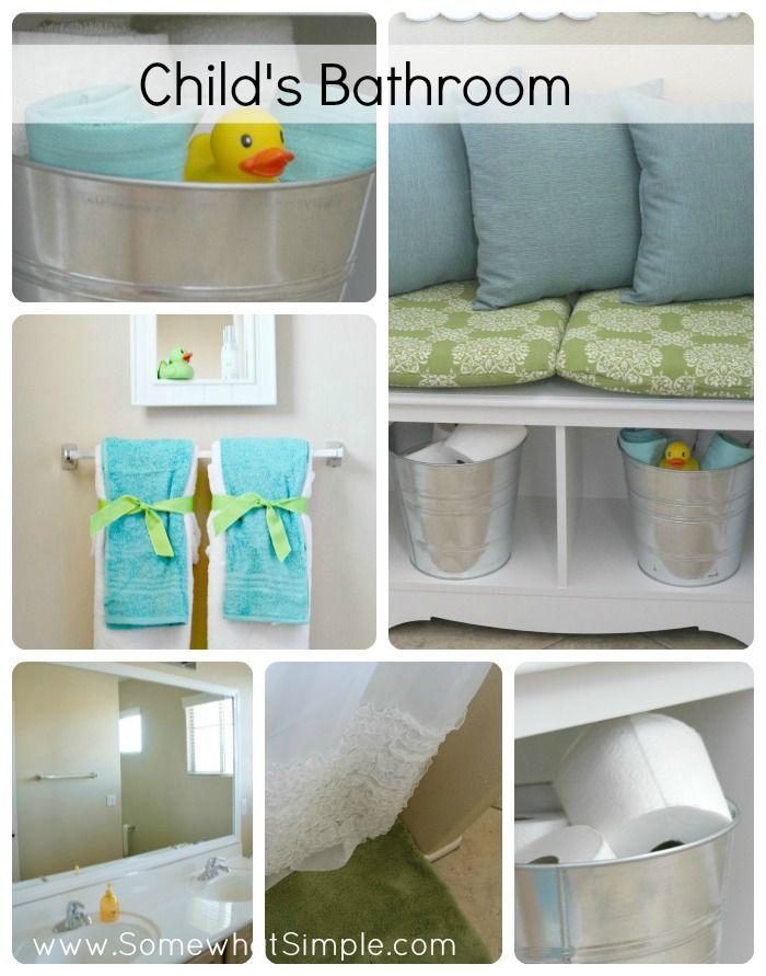 Child's bathroom from Somewhat Simple #kidsbathroom #decor