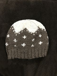 The Snow Capped Beanie is worked in the round, repeating a fair isle chart around.