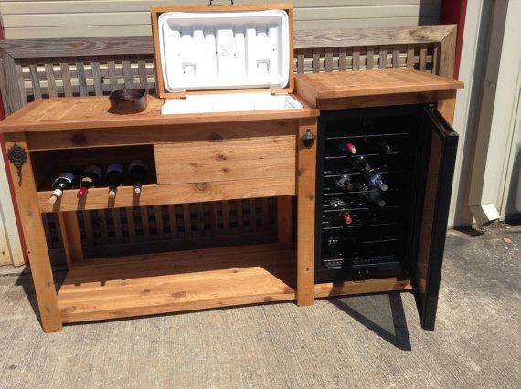Rustic Wooden Cooler Table Bar Cart Wine With Mini Fridge Console Storage Cabinet Outdoor Rolling Reclaimed Wood In 2018 Backyard