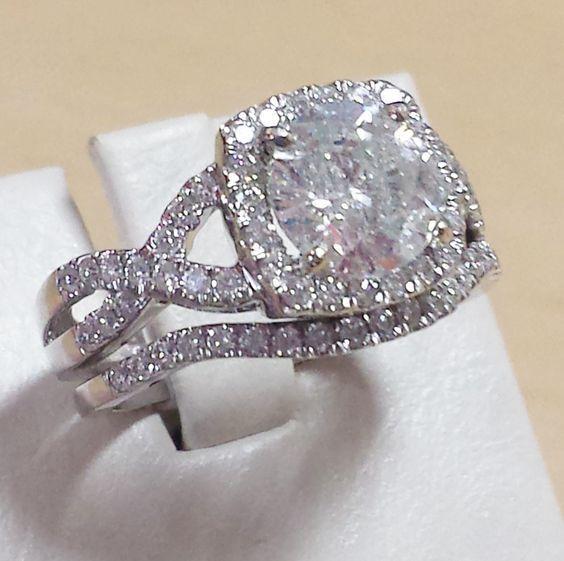 Ladies White Gold Over Diamond Engagement Ring Halo Set Wedding Band Bridal Set #giftjewelry22