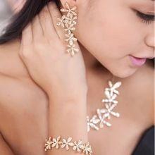 Luxury Rakúsko Sklenené kvetiny Prívesky Gold Silver Bižutéria doplnky šperky Súpravy Vyhlásenie Náhrdelníky Náušnice Náramky (Čína (pevninská časť))