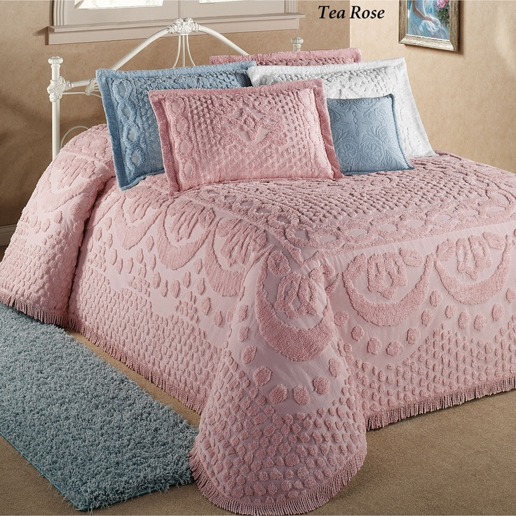 I've always loved the crispness of chenille bedspreads. My grandmother had them in her guest bedrooms in white. very elegant. I ordered a set in this blue. I'm thinking of adding black accents (pillows, picture frames...) to tone down the pastel look.