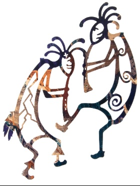 "Give your wall an interesting accent with this laser cut southwestern art featuring this 16"" Dancing Kokopellis w/ Flutes by Artist Neil Rose. This metal decor is made from 1/8 flat steel and the mounting hooks are built in to achieve a floating effect on your wall. By design the color of your wall shows through to match this wall art naturally to the color scheme of the room. Being given a clear coat finish makes the wall decoration very durable for a long time."