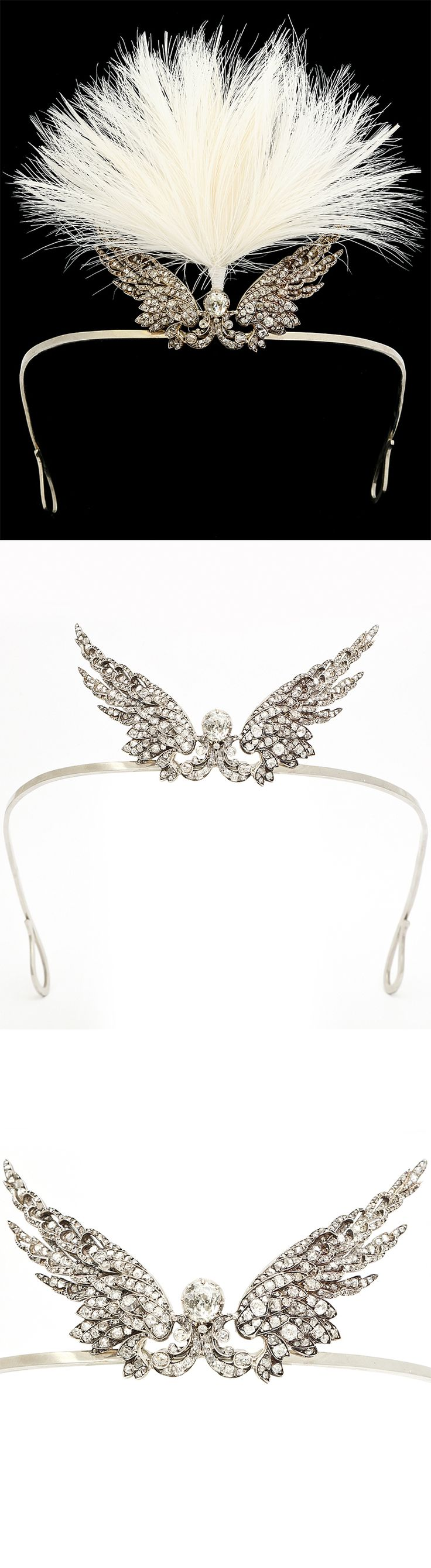 Antique Diamond and Feathered Angel Wing Tiara. Belle Epoque angel wing tiara set with old-mine diamond 'feathers', mounted in silver and gold with silver headband. English, ca. 1900. Width: 3 5/8 inches