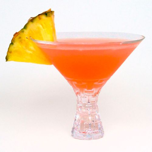 tropical sunset martini - Van Gogh Pineapple Vodka, Van Gogh Coconut Vodka, Pineapple Juice, Splash of Grenadine
