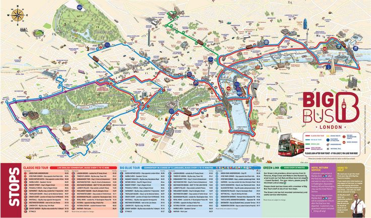 London S Major Attractions Map Big Bus Tour Europe