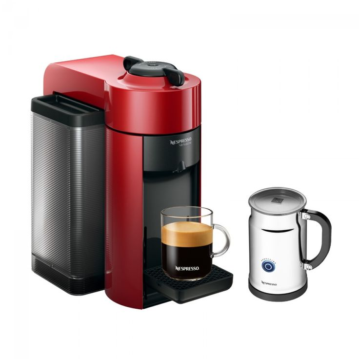 Nespresso® VertuoLine Evoluo Espresso Maker & Aeroccino Plus Milk Frother - Red | A holiday favourite! Get a $100 Nespresso Coffee Credit free when you purchase this machine. (Offer ends Dec 22,2016)