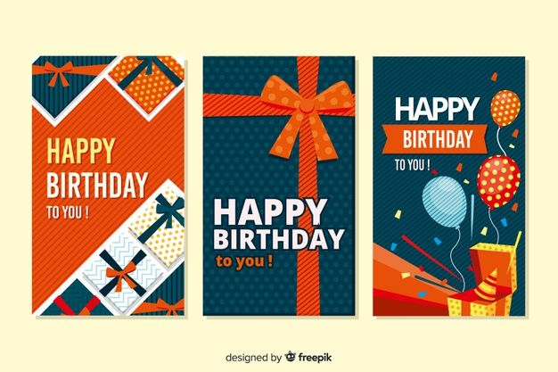 Birthday Card Collection Flat Design Birthday Cards Gift Vector Kids Birthday Cards