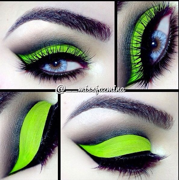 Love this Gorgeous Acid Green Eye Makeup with a Perfect Cut Crease ❤'d by http://makeupartistrycairns.com.au