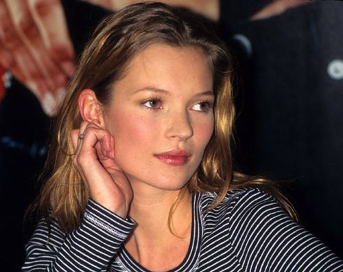 Kate Moss young top model rock chick style beauty long hair