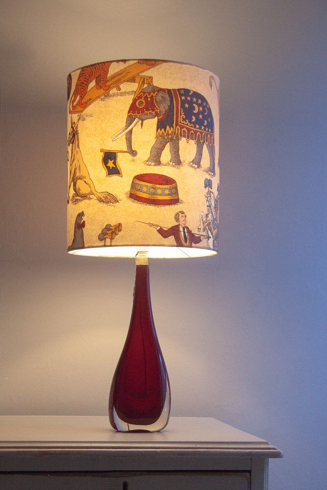Handmade Circus Print Vintage Fabric Nursery Children's Lampshade 30cm W 32cm L - Elephant, Tiger, Circus Performers by SilverWhippet on Etsy https://www.etsy.com/listing/222550233/handmade-circus-print-vintage-fabric