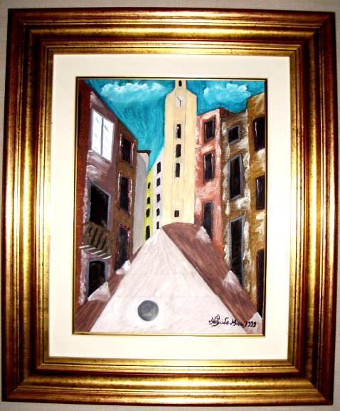 Uma rua..   Uma igreja.   Uma das primeiras obras da pintora Adelaide Moça  Pintado a óleo sobre tela.   Tamanho: 40*30 com Moldura 62,50*52,50 cm