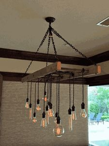 Ladder Pot Rack Converted to Chandelier by Client