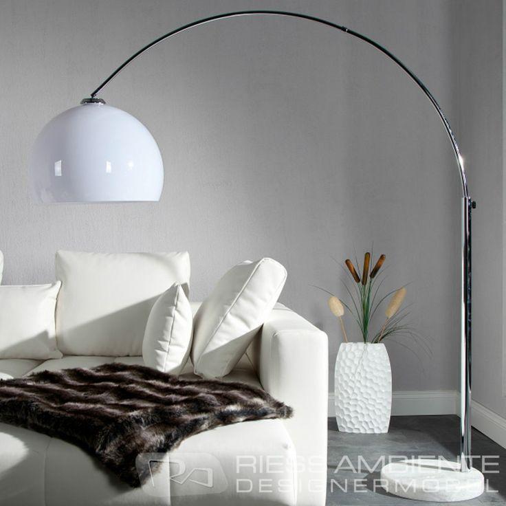 Design Bogenlampe LOUNGE DEAL weiss Marmorfuss 175 - 205cm ausziehbar Stehlampe übers Sofa?