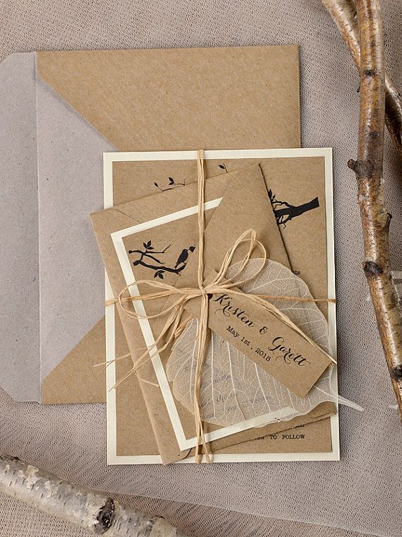 Rustic Wedding Invitation Recycling Paper Tree by 4LOVEPolkaDots