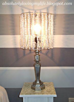 DIY beaded lamp shades: Beaded Lampshade, Idea, Diy Lamps Shades, Lampshades, Diy'S, Diy Crystal Lampshade, Beaded Lamp Shades Diy