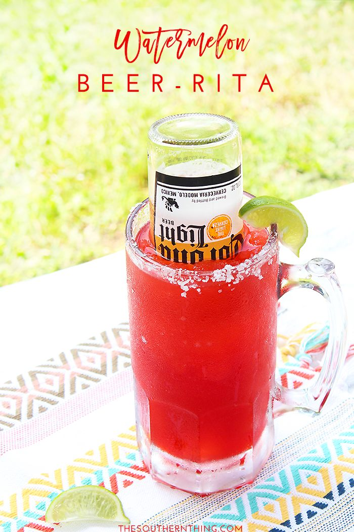 Msg 4 21+: This Watermelon Beer Rita recipe is perfect for summer entertaining and Cinco de Mayo! It's a light beer margarita made with Corona beer. #ad