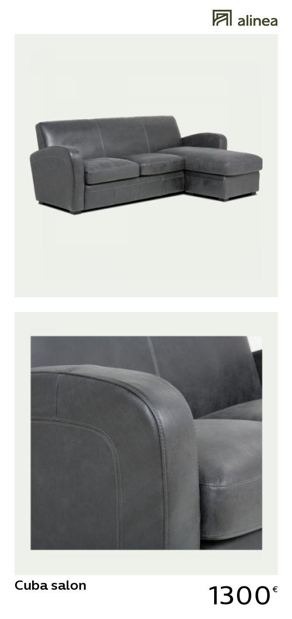 Alinea Cuba Salon Canape D Angle Reversible En Croute De Cuir Noir Canapes Tous Les Canapes Canapes En Cuir Alinea Canape Design Canape Canape Angle