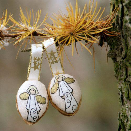Retro Vánoční ozdoby - oříšek - andílek