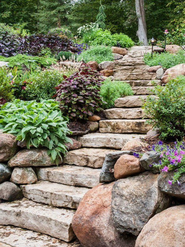10 Lush Landscaping Ideas for a Hilly Backyard | Stone ...