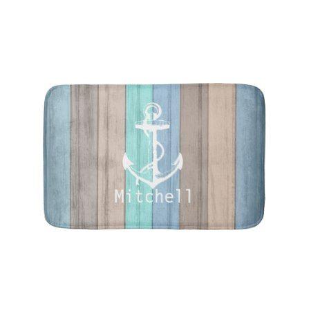 Rustic Beach Wood Nautical Stripes & Anchor Bath Mat - click/tap to personalize and buy #beachhouse #anchor #rusticdecor #rustic #beach #coastaldecor #coastalliving #coastal #bathmat #bathroomdesign #bathroomdecor #bathroomideas