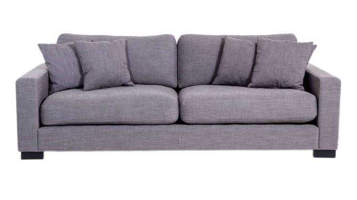 Valen soffa i grå linne. Djup soffa, låg soffa, träben, vardagsrum, linnetyg. http://sweef.se/soffor/111-valen-soffa-i-linne.html