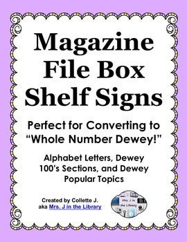 Library Shelf Signs using Recycled Magazine File Boxes - Make your nonfiction section easier to navigate and browse with these shelf signs!  Perfect for converting to Whole Number Dewey or augmenting your current Dewey Decimal System.