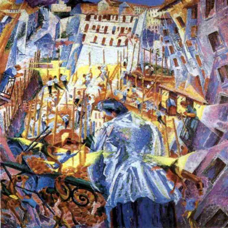 En su origen fue un movimiento literario y tuvo que ver con la escultura, la arquitectura, la música, el cine y la fotografía. La plasmación del movimiento fue una de las principales preocupaciones de los pintores futuristas, cuya obra se aproxima en ocasiones a la abstracción.