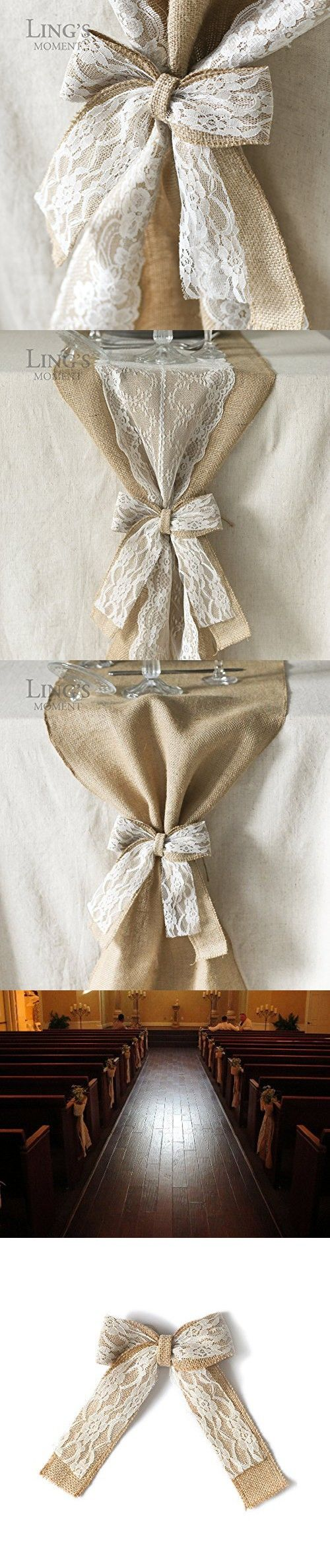 Ling's moment Burlap Bows With Lace, Pack of 10 Table runner bows