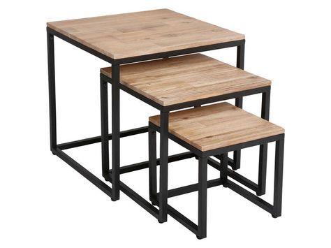 Table basse gigogne carrée BROOKE - Vente de Table et chaises de jardin - Conforama