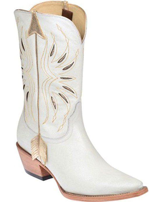 Lucchese Women's Kacey Musgraves Golden Arrow Cowgirl Boot Pointed Toe White 9 M US