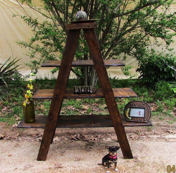 Rustic Ladder Shelf A-Frame Shelf Rustic by SereneVillage on Etsy