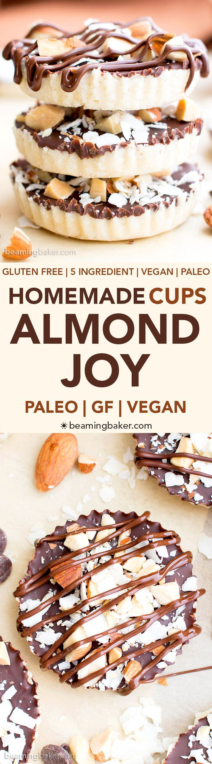 Homemade Almond Joy Cups (Paleo, V, GF): a 5-ingredient recipe for rich, nutty Almond Joy cups layered in velvety chocolate.
