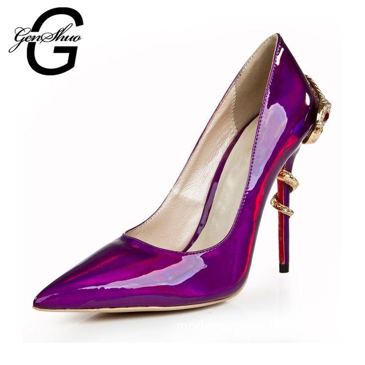 2016 couro sapatos de casamento nupcial Evening partido salto alto calçados femininos Sexy bombas das mulheres sapatos de noiva tamanho grande alishoppbrasil