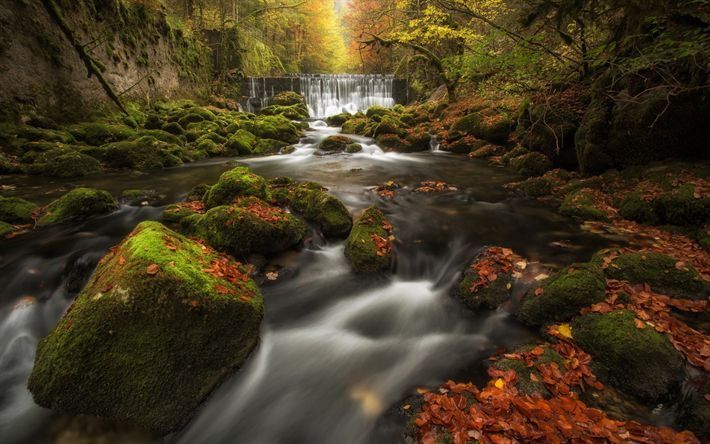 Download wallpapers Areuse Gorge, waterfall, mountain river, autumn, forest, autumn landscape, Val-De-Travers, Switzerland