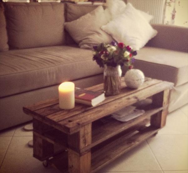 Sofa Side Table - DIY Most Cautious Pallet Table Ideas | Pallet Furniture DIY