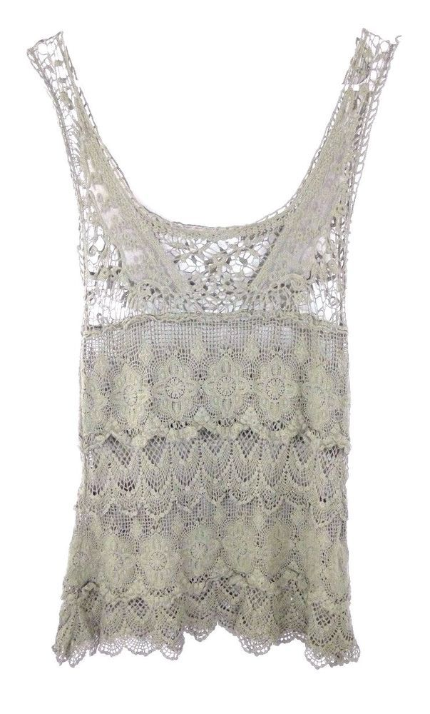 Solitaire Crochet Tank Top Olive Green 100% Cotton Sz XS Over Sized Tiered  #Solitaire #Crochet #Casual
