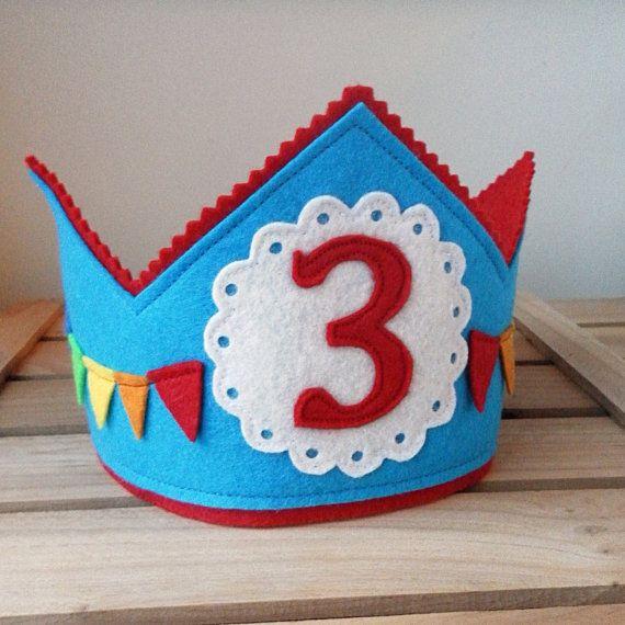 Birthday Crown, Rainbow Theme, Rainbow Banner, Wool Felt, Made to Your Custom Order Specifications