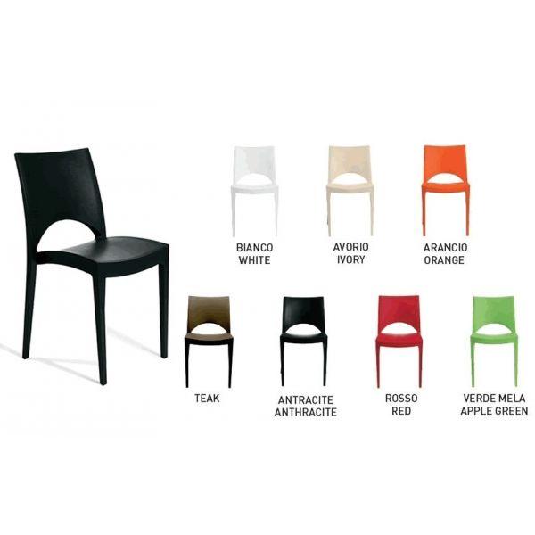 Sedia moderna impilabile modello Paris
