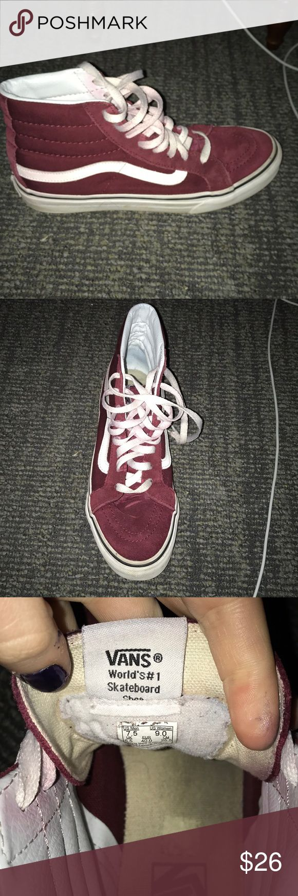 Red high top vans Red high too vans. Barely worn and in good used condition. Men 7.5 women's 9 Vans Shoes