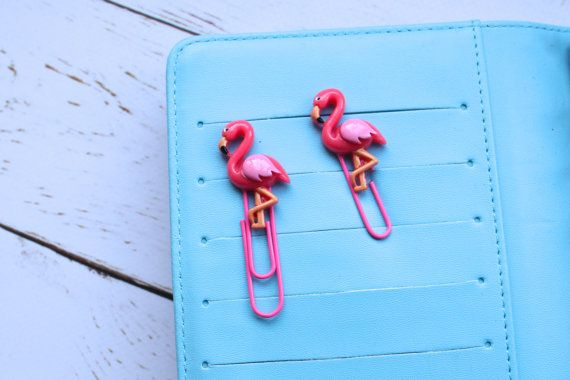 Flamingo Planner Clips/ Kawaii Pink Page Marker/ by myCraftyNell