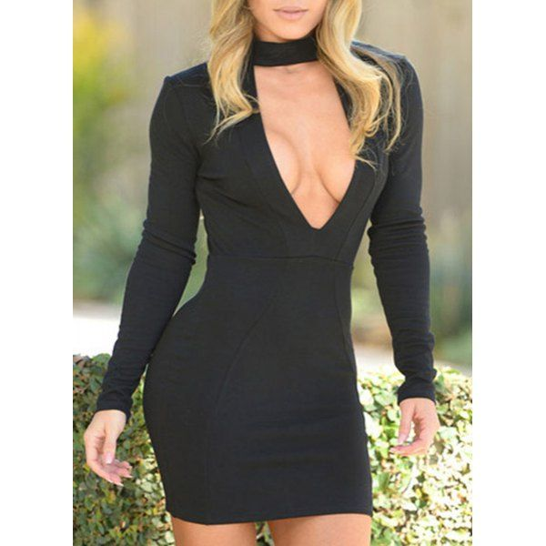 Sexy Stand-Up Collar Long Sleeve Solid Color Cut Out Women's Dress