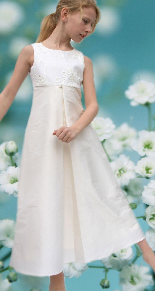 Kommunionkleid, schlichtes Seidenkleid, handgefertigt aus