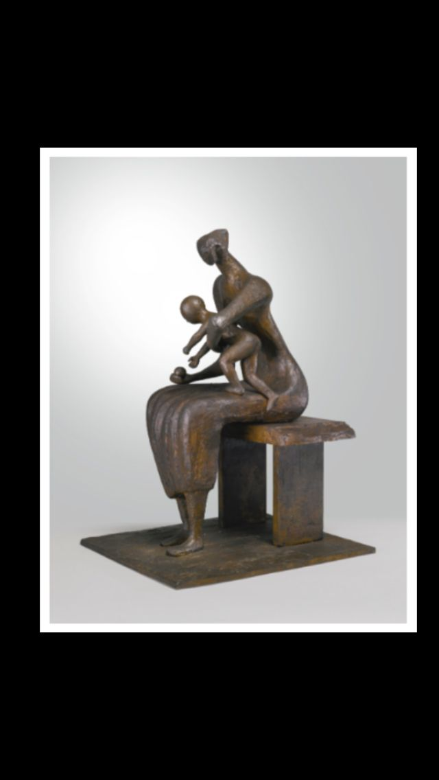 "Henry Moore - "" Mother and child with apple "", conceived in 1956 - Bronze - Height : 71,1 cm"