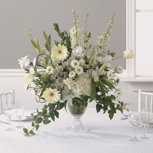 All white centerpiece flower arrangements pinterest for Centerpiece flowers for wedding reception