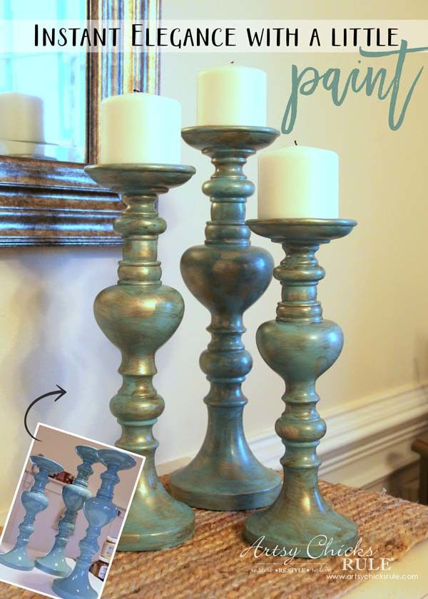 Painted Candlesticks (instant elegance with a little paint!) - Artsy Chicks Rule®