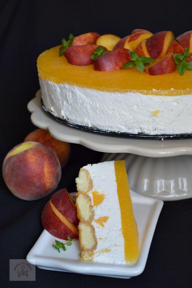 tort cu piscoturi, crema de iaurt si piersici, un tort racoros, usor de facut, ideal pentru copii