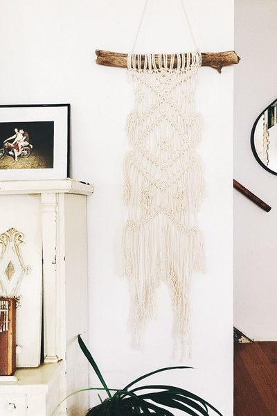 This beautiful one of a kind macrame wall hanging will add a bit of handmade delight to your home. Made with 100% cotton rope on a piece of foraged driftwood fo