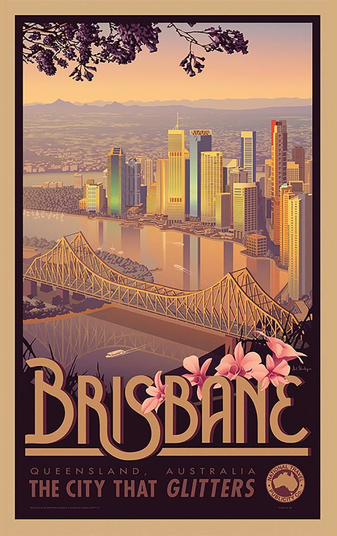 60 Inspiring Designs In The Style Of Art Deco Travel Posters Brisbane By James Northfield Vintage Art Beachtrave In 2020 Retro Travel Poster Posters Australia